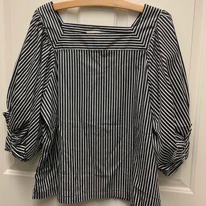 LOFT Black and white stripe top- size large